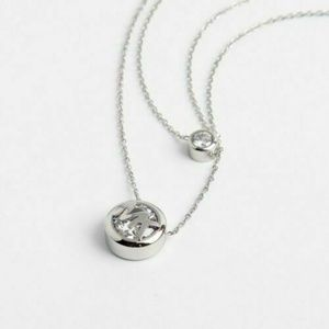 Michael Kors Silver Two Row Crystal Logo Necklace
